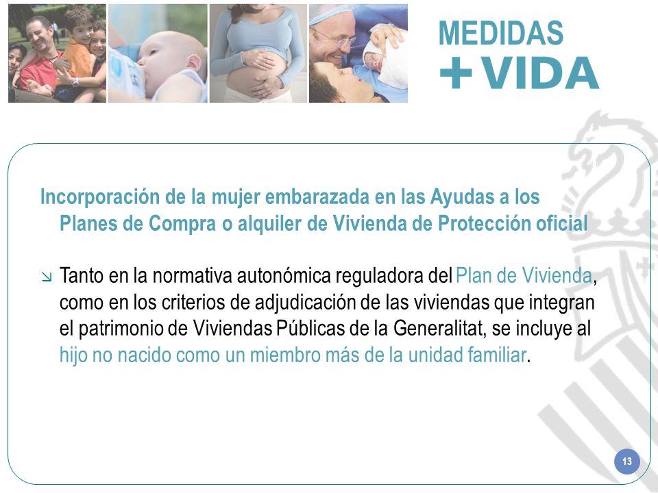 13 MEDIDAS Incorporación de la mujer embarazada en las Ayudas a los Planes de Compra o alquiler de Vivienda de Protección oficial Tanto en la normativ