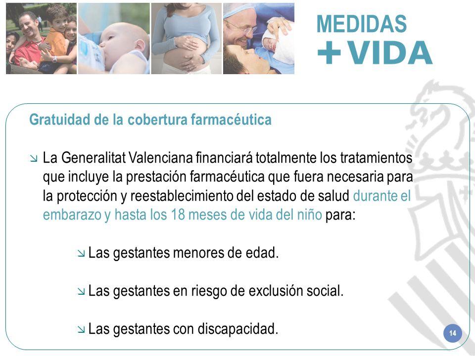 14 MEDIDAS Gratuidad de la cobertura farmacéutica La Generalitat Valenciana financiará totalmente los tratamientos que incluye la prestación farmacéut