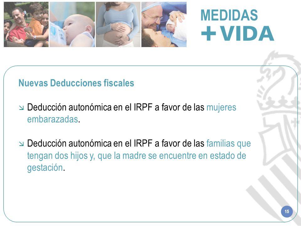 15 MEDIDAS Nuevas Deducciones fiscales Deducción autonómica en el IRPF a favor de las mujeres embarazadas. Deducción autonómica en el IRPF a favor de
