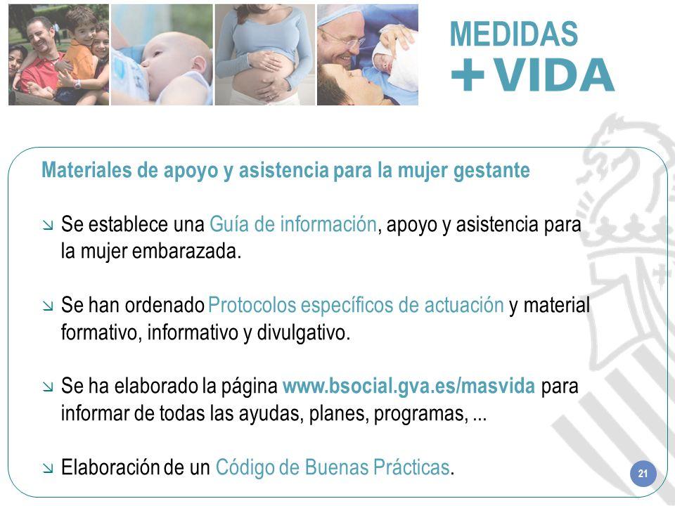 21 MEDIDAS Materiales de apoyo y asistencia para la mujer gestante Se establece una Guía de información, apoyo y asistencia para la mujer embarazada.