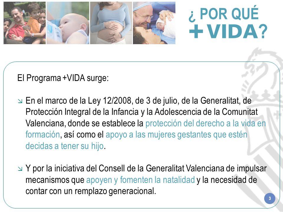 3 ¿ POR QUÉ ? El Programa +VIDA surge: En el marco de la Ley 12/2008, de 3 de julio, de la Generalitat, de Protección Integral de la Infancia y la Ado
