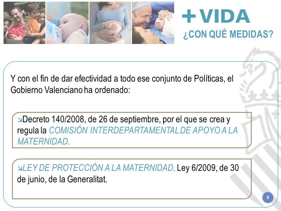 6 ¿CON QUÉ MEDIDAS? LEY DE PROTECCIÓN A LA MATERNIDAD, Ley 6/2009, de 30 de junio, de la Generalitat. Decreto 140/2008, de 26 de septiembre, por el qu