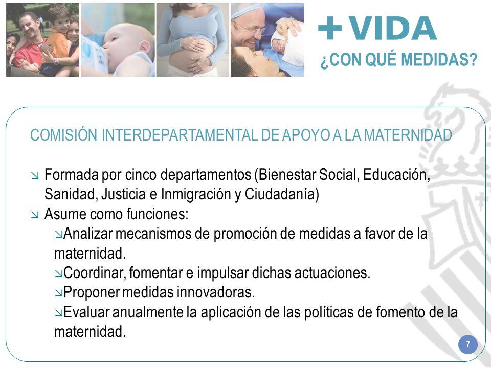 7 ¿CON QUÉ MEDIDAS? COMISIÓN INTERDEPARTAMENTAL DE APOYO A LA MATERNIDAD Formada por cinco departamentos (Bienestar Social, Educación, Sanidad, Justic