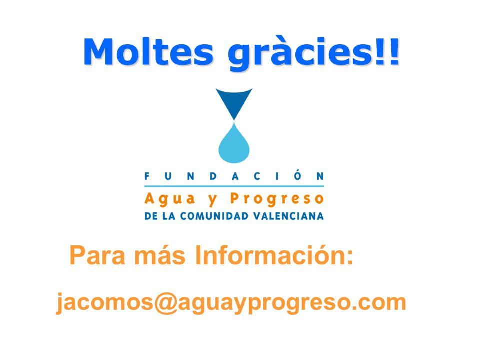 Moltes gràcies!! Moltes gràcies!! jacomos@aguayprogreso.com Para más Información: