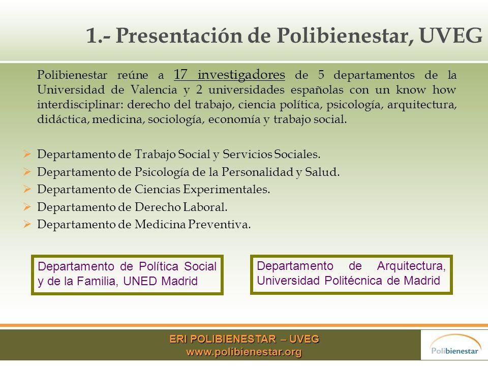 ERI POLIBIENESTAR – UVEG www.polibienestar.org 7.- Conclusiones Políticas europeas y nacionales que fomentan la igualdad de género.
