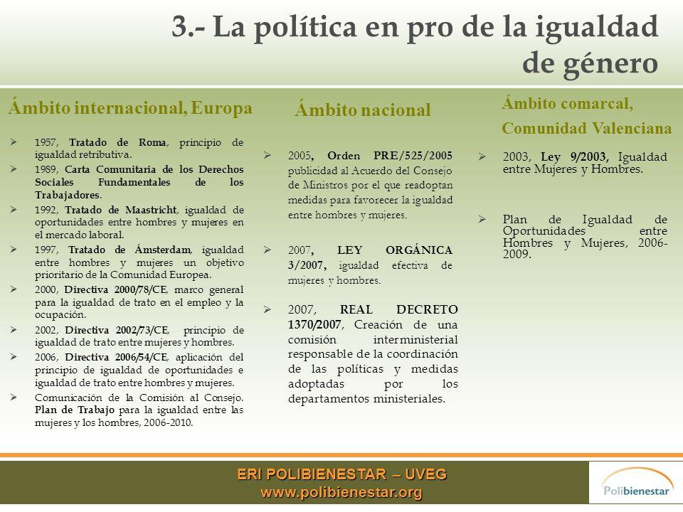 3.- La política en pro de la igualdad de género 1957, Tratado de Roma, principio de igualdad retributiva.