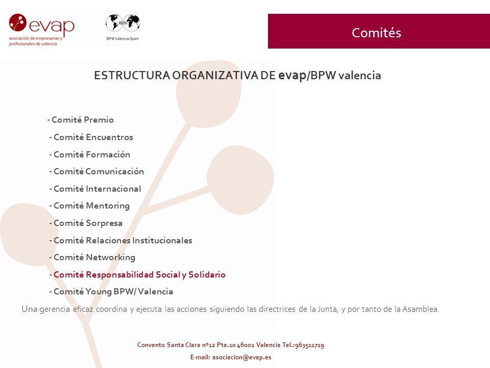 ESTRUCTURA ORGANIZATIVA DE evap /BPW valencia - Comité Premio - Comité Encuentros - Comité Formación - Comité Comunicación - Comité Internacional - Co