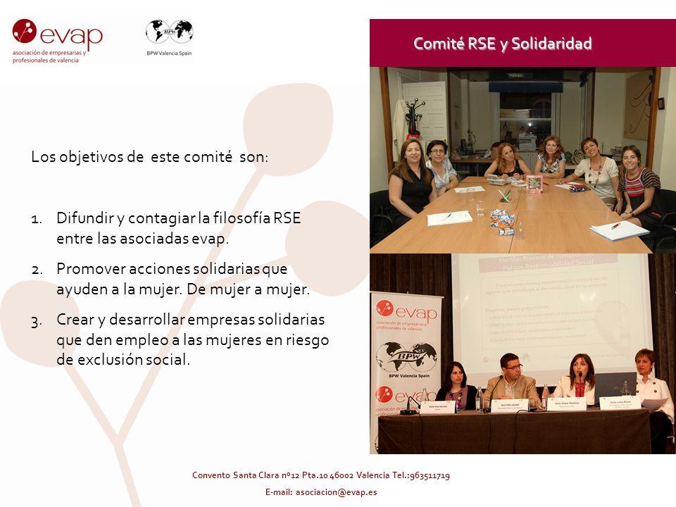 Comité RSE y Solidaridad Los objetivos de este comité son: 1.Difundir y contagiar la filosofía RSE entre las asociadas evap. 2.Promover acciones solid