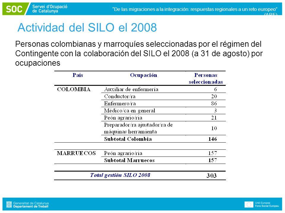 Actividad del SILO el 2008 Personas colombianas y marroquíes seleccionadas por el régimen del Contingente con la colaboración del SILO el 2008 (a 31 de agosto) por ocupaciones De las migraciones a la integración: respuestas regionales a un reto europeo (ARE)