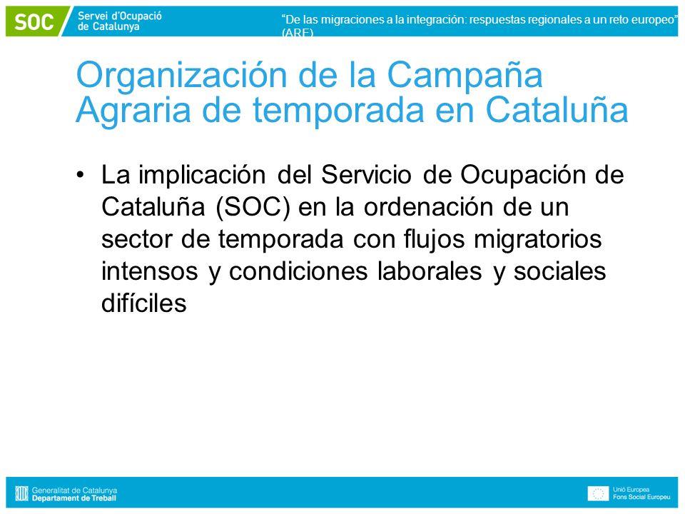 Organización de la Campaña Agraria de temporada en Cataluña La implicación del Servicio de Ocupación de Cataluña (SOC) en la ordenación de un sector de temporada con flujos migratorios intensos y condiciones laborales y sociales difíciles De las migraciones a la integración: respuestas regionales a un reto europeo (ARE)