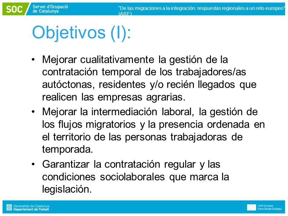 Objetivos (I): Mejorar cualitativamente la gestión de la contratación temporal de los trabajadores/as autóctonas, residentes y/o recién llegados que realicen las empresas agrarias.