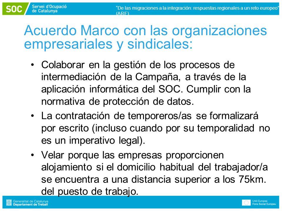 Acuerdo Marco con las organizaciones empresariales y sindicales: Colaborar en la gestión de los procesos de intermediación de la Campaña, a través de la aplicación informática del SOC.