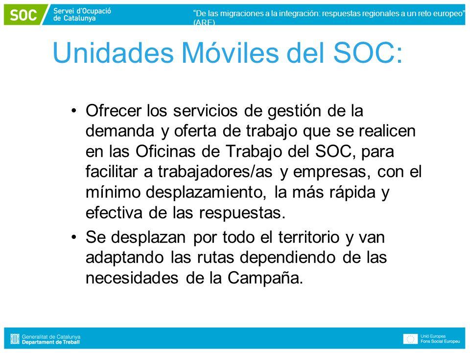 Unidades Móviles del SOC: Ofrecer los servicios de gestión de la demanda y oferta de trabajo que se realicen en las Oficinas de Trabajo del SOC, para facilitar a trabajadores/as y empresas, con el mínimo desplazamiento, la más rápida y efectiva de las respuestas.