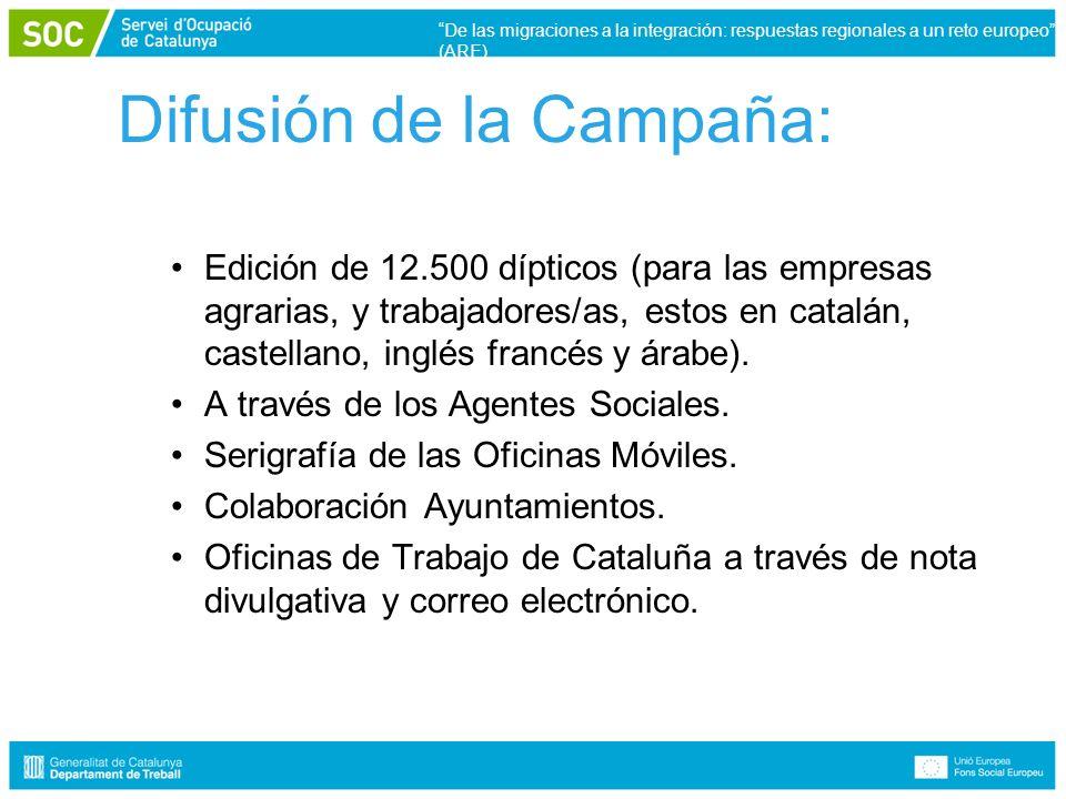 Difusión de la Campaña: Edición de 12.500 dípticos (para las empresas agrarias, y trabajadores/as, estos en catalán, castellano, inglés francés y árabe).