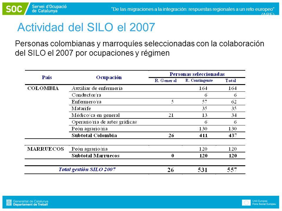 Actividad del SILO el 2007 Personas colombianas y marroquíes seleccionadas con la colaboración del SILO el 2007 por ocupaciones y régimen De las migraciones a la integración: respuestas regionales a un reto europeo (ARE)