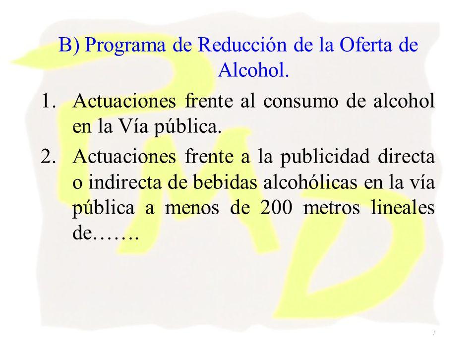 7 B) Programa de Reducción de la Oferta de Alcohol. 1.Actuaciones frente al consumo de alcohol en la Vía pública. 2.Actuaciones frente a la publicidad