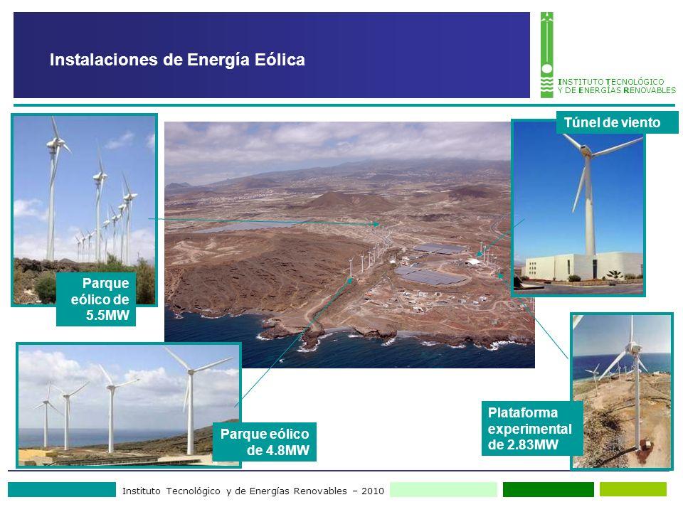 Instituto Tecnológico y de Energías Renovables – 2010 INSTITUTO TECNOLÓGICO Y DE ENERGÍAS RENOVABLES Instalaciones de Energía Eólica Parque eólico de 5.5MW Parque eólico de 4.8MW Plataforma experimental de 2.83MW Túnel de viento