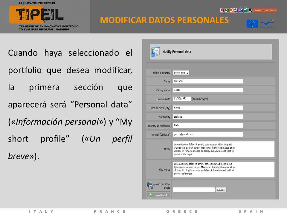Cuando haya seleccionado el portfolio que desea modificar, la primera sección que aparecerá será Personal data («Información personal») y My short pro