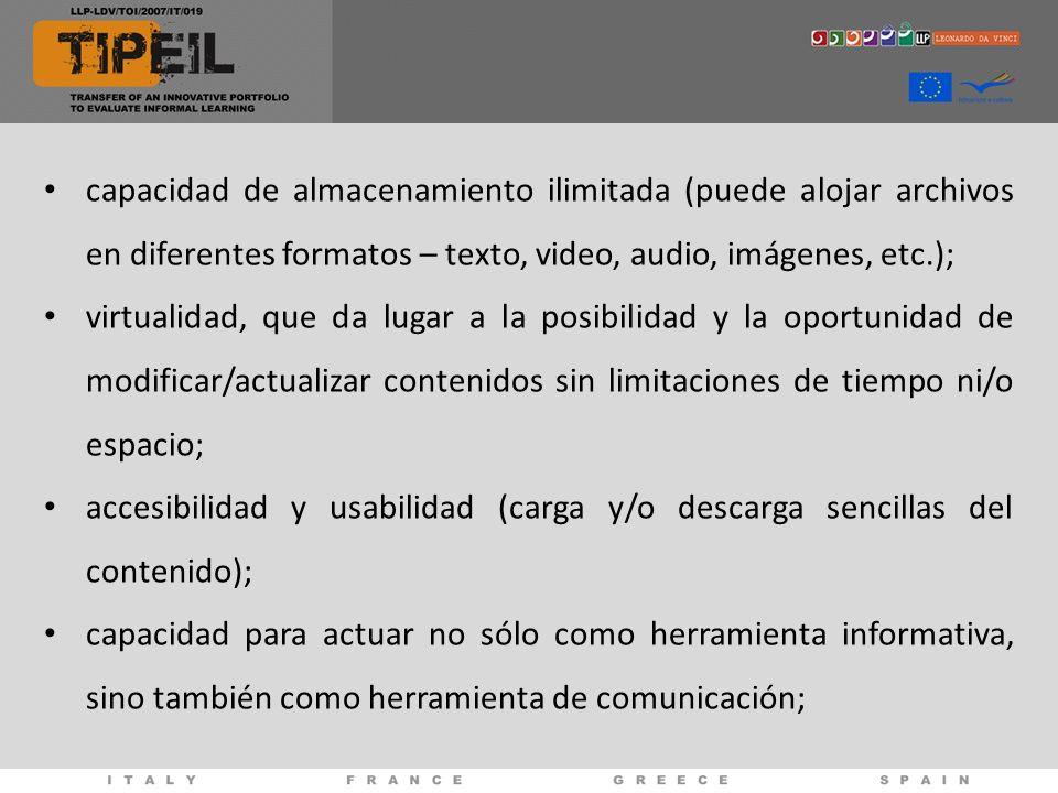 capacidad de almacenamiento ilimitada (puede alojar archivos en diferentes formatos – texto, video, audio, imágenes, etc.); virtualidad, que da lugar a la posibilidad y la oportunidad de modificar/actualizar contenidos sin limitaciones de tiempo ni/o espacio; accesibilidad y usabilidad (carga y/o descarga sencillas del contenido); capacidad para actuar no sólo como herramienta informativa, sino también como herramienta de comunicación;