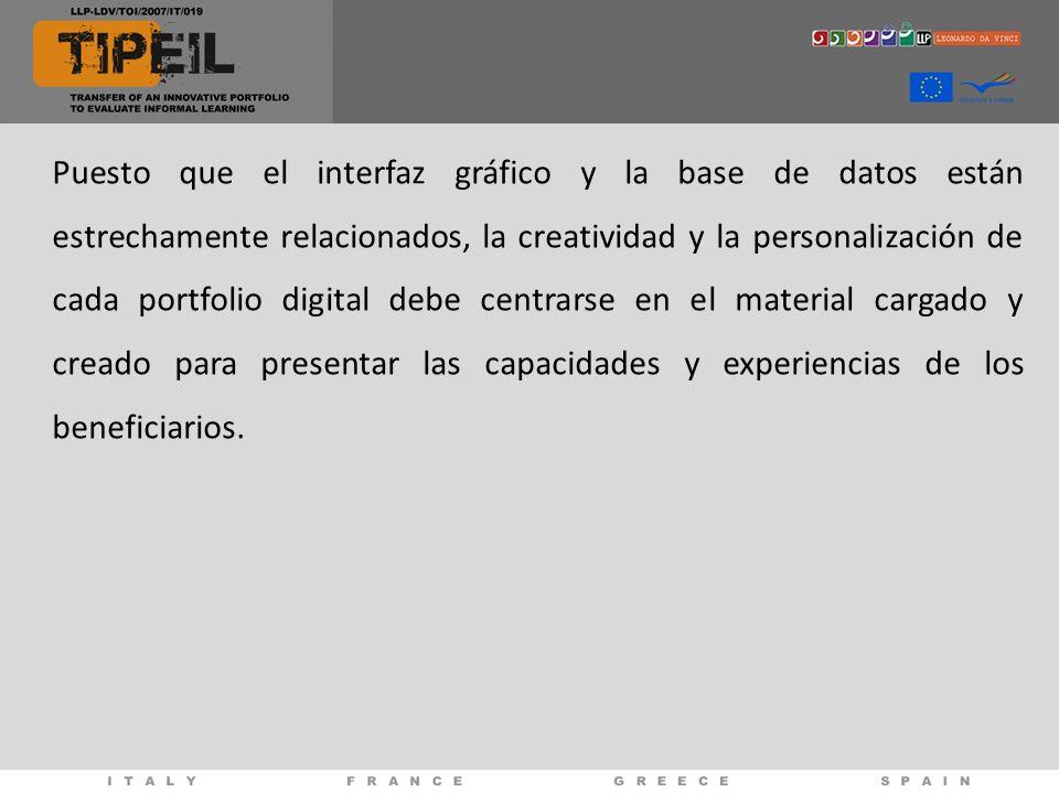 Puesto que el interfaz gráfico y la base de datos están estrechamente relacionados, la creatividad y la personalización de cada portfolio digital debe centrarse en el material cargado y creado para presentar las capacidades y experiencias de los beneficiarios.