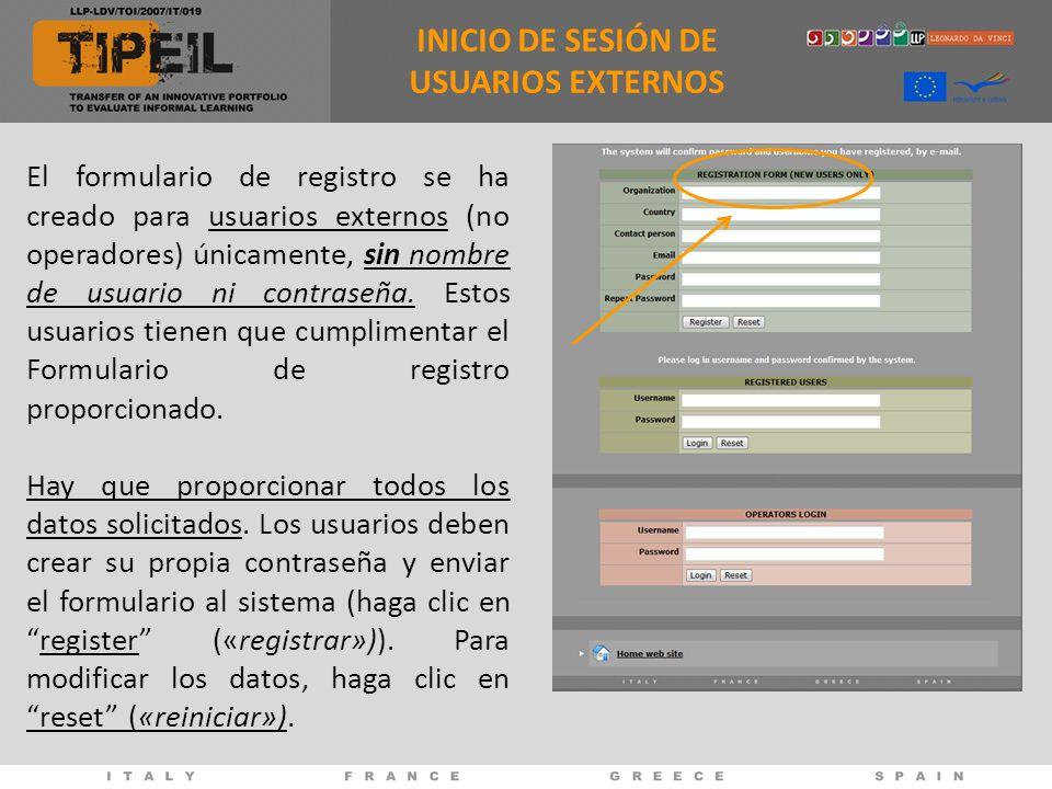 INICIO DE SESIÓN DE USUARIOS EXTERNOS El formulario de registro se ha creado para usuarios externos (no operadores) únicamente, sin nombre de usuario ni contraseña.