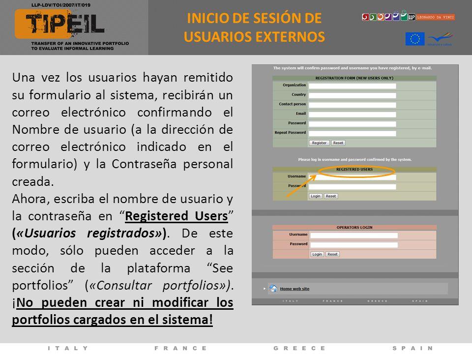 Una vez los usuarios hayan remitido su formulario al sistema, recibirán un correo electrónico confirmando el Nombre de usuario (a la dirección de correo electrónico indicado en el formulario) y la Contraseña personal creada.