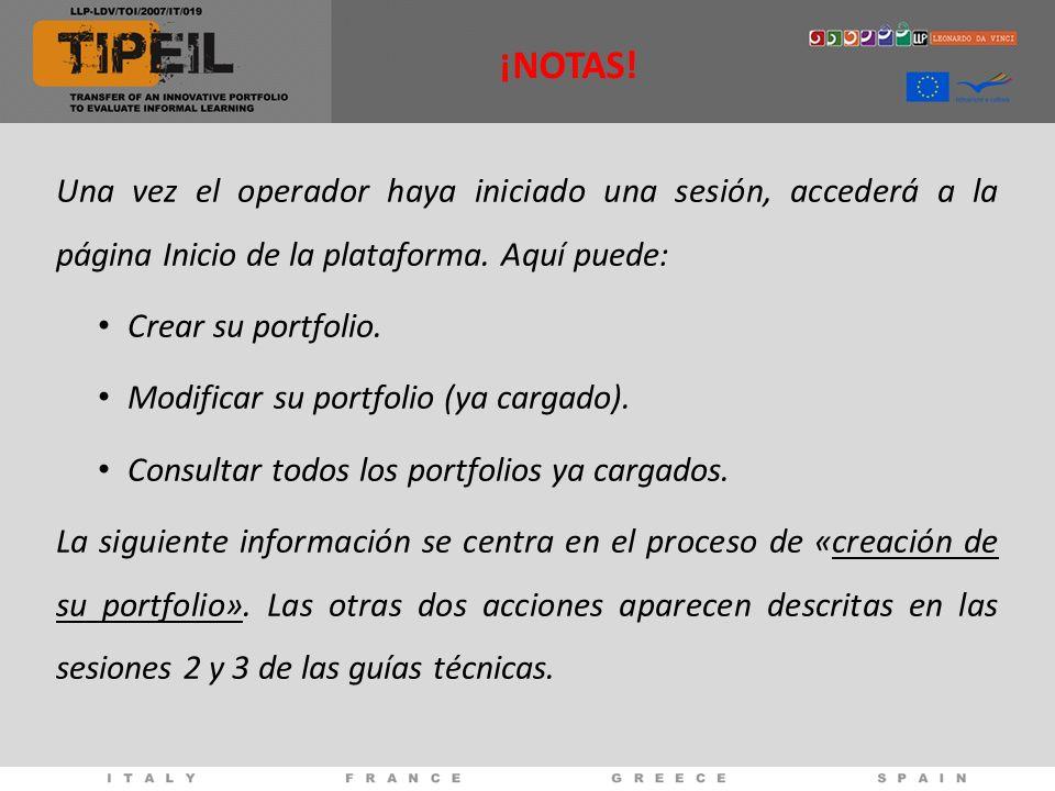 Una vez el operador haya iniciado una sesión, accederá a la página Inicio de la plataforma.