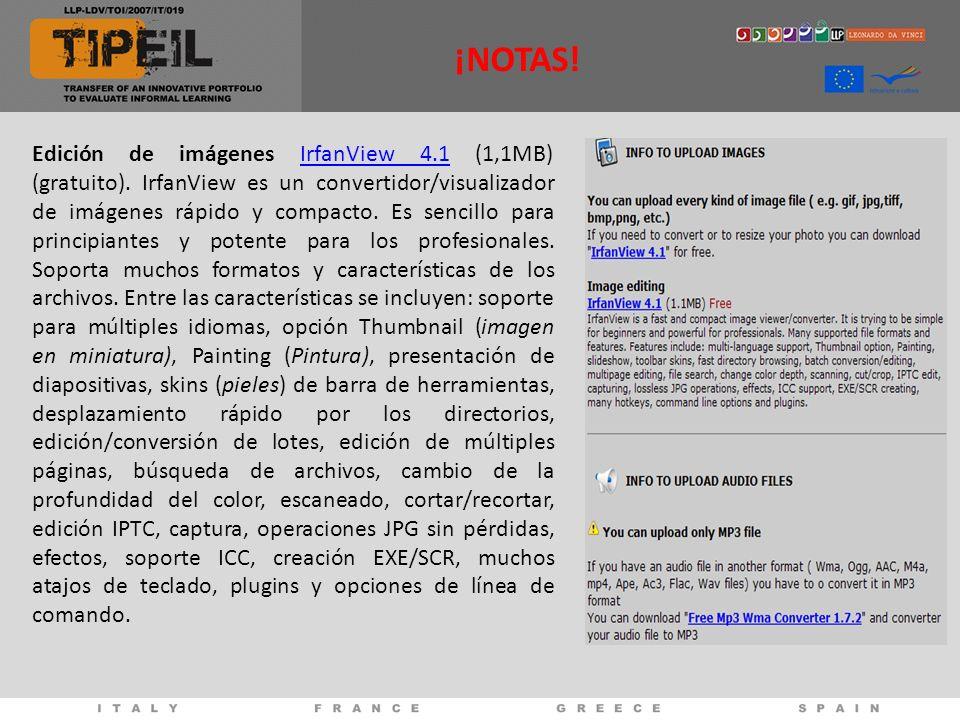 Edición de imágenes IrfanView 4.1 (1,1MB) (gratuito).