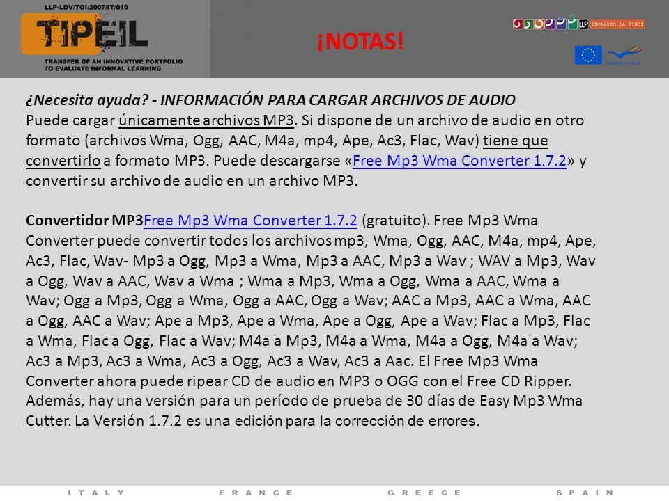¿Necesita ayuda. - INFORMACIÓN PARA CARGAR ARCHIVOS DE AUDIO Puede cargar únicamente archivos MP3.