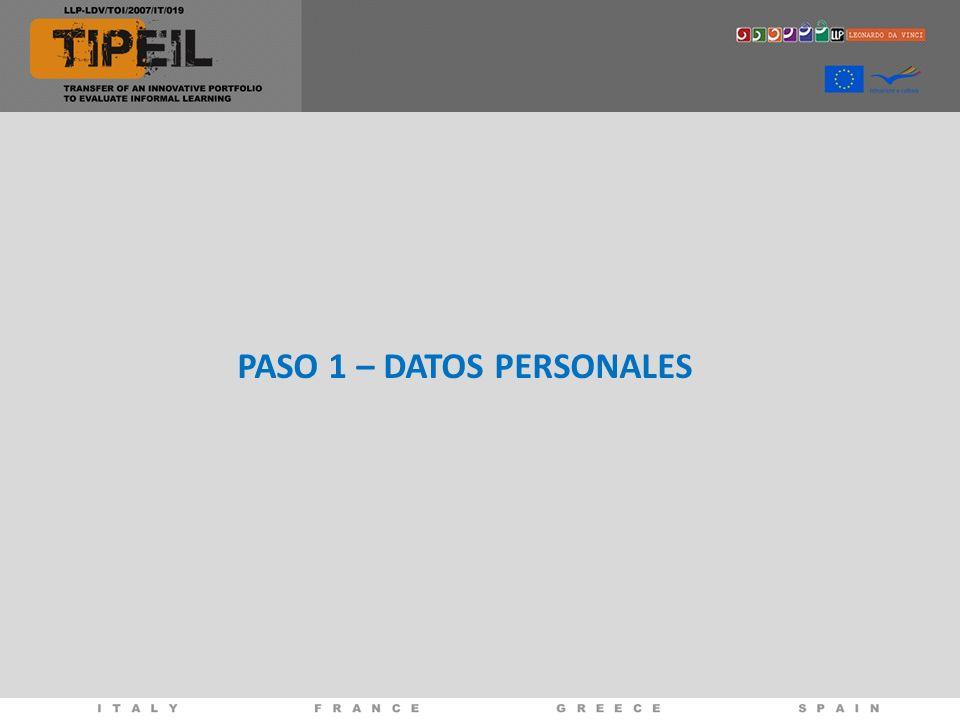 PASO 1 – DATOS PERSONALES