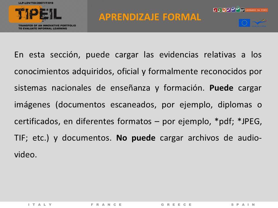 En esta sección, puede cargar las evidencias relativas a los conocimientos adquiridos, oficial y formalmente reconocidos por sistemas nacionales de enseñanza y formación.
