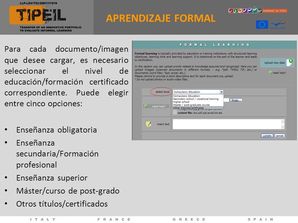 Para cada documento/imagen que desee cargar, es necesario seleccionar el nivel de educación/formación certificado correspondiente.