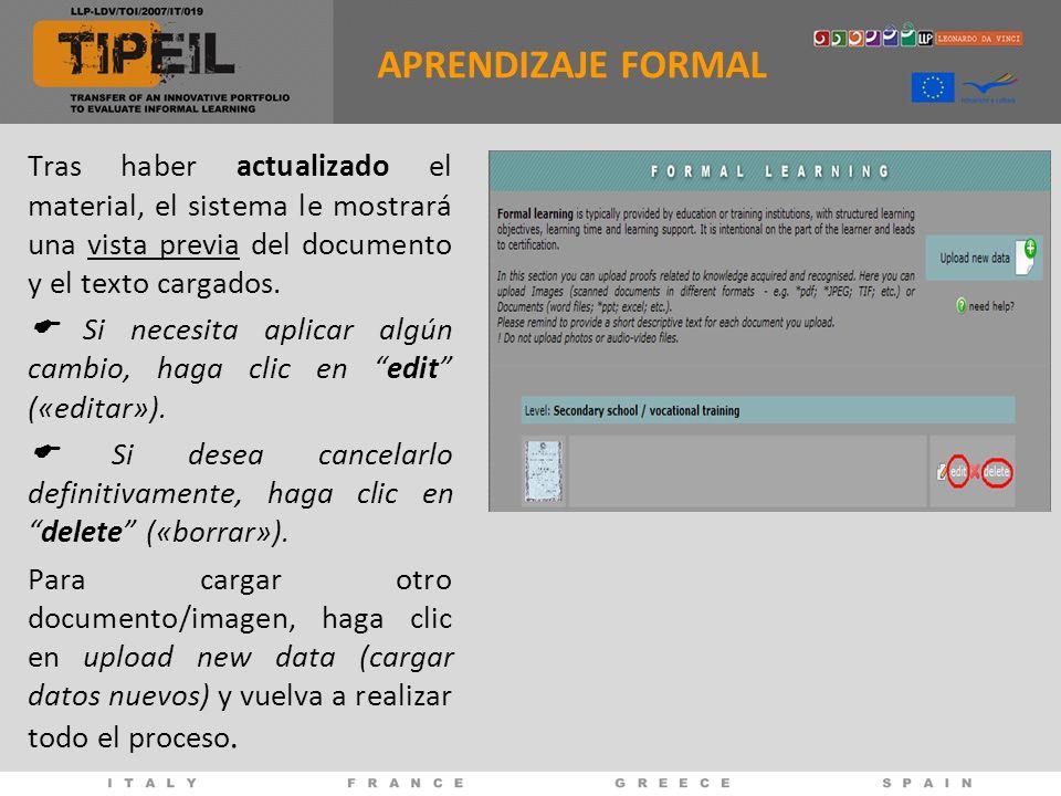 Tras haber actualizado el material, el sistema le mostrará una vista previa del documento y el texto cargados.