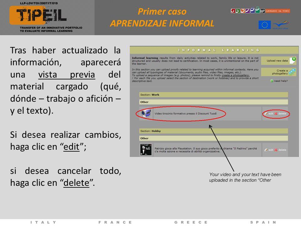 Tras haber actualizado la información, aparecerá una vista previa del material cargado (qué, dónde – trabajo o afición – y el texto).
