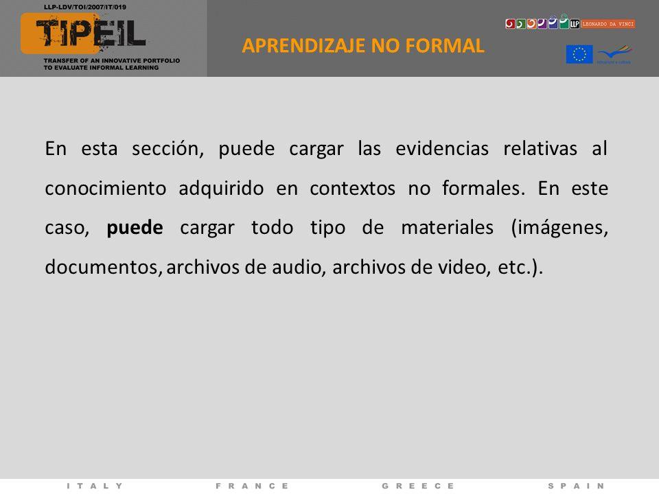 En esta sección, puede cargar las evidencias relativas al conocimiento adquirido en contextos no formales.