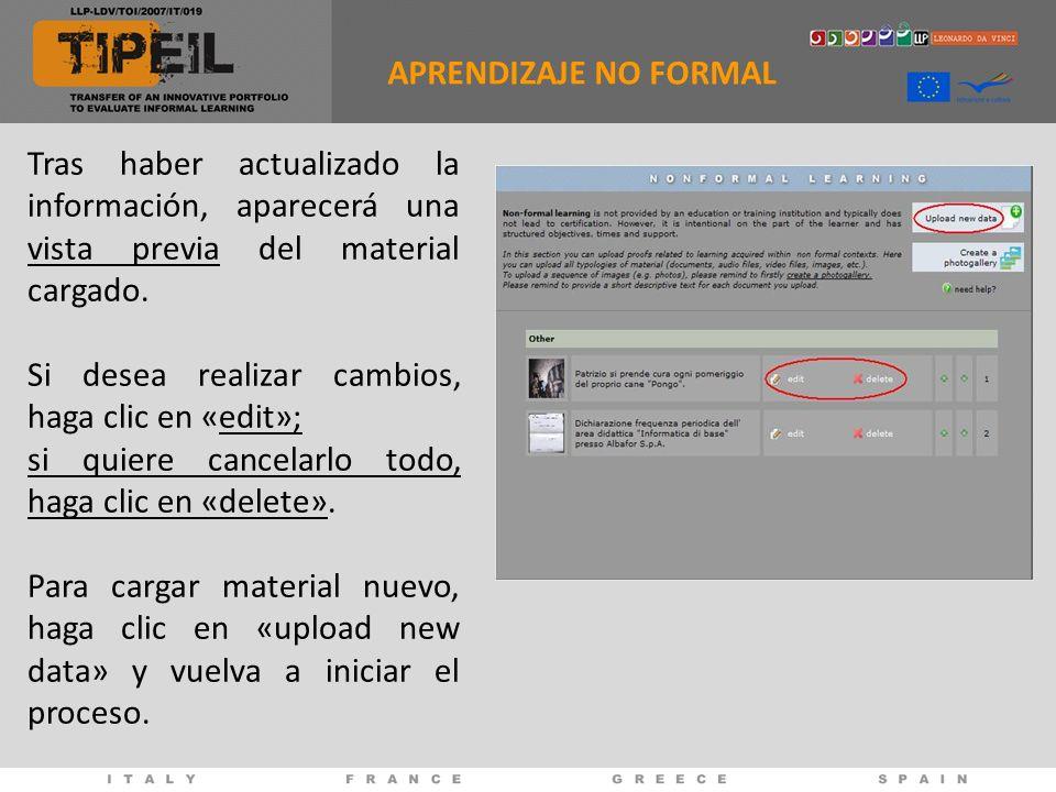 Tras haber actualizado la información, aparecerá una vista previa del material cargado.
