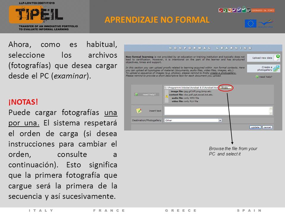 Ahora, como es habitual, seleccione los archivos (fotografías) que desea cargar desde el PC (examinar).