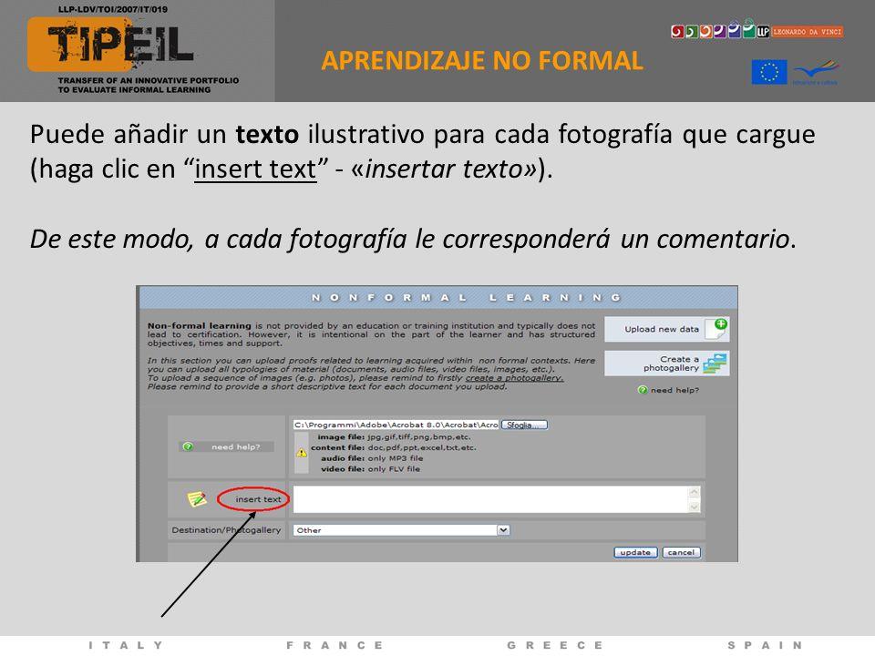 Puede añadir un texto ilustrativo para cada fotografía que cargue (haga clic en insert text - «insertar texto»).