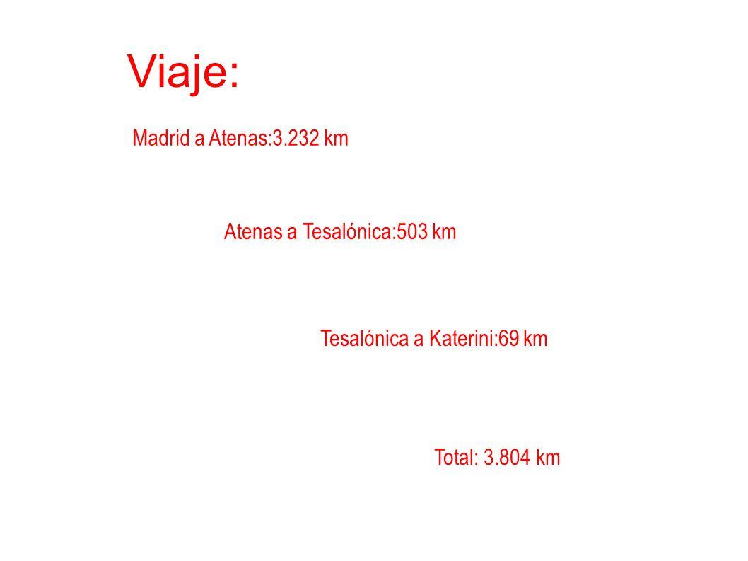 Viaje: Madrid a Atenas:3.232 km Atenas a Tesalónica:503 km Tesalónica a Katerini:69 km Total: 3.804 km