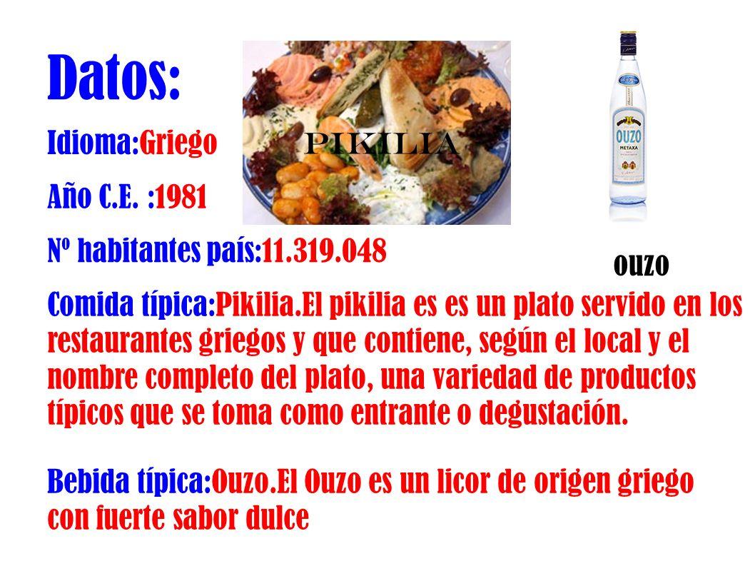 Datos: Idioma:Griego Año C.E. :1981 Nº habitantes país:11.319.048 Comida típica:Pikilia.El pikilia es es un plato servido en los restaurantes griegos