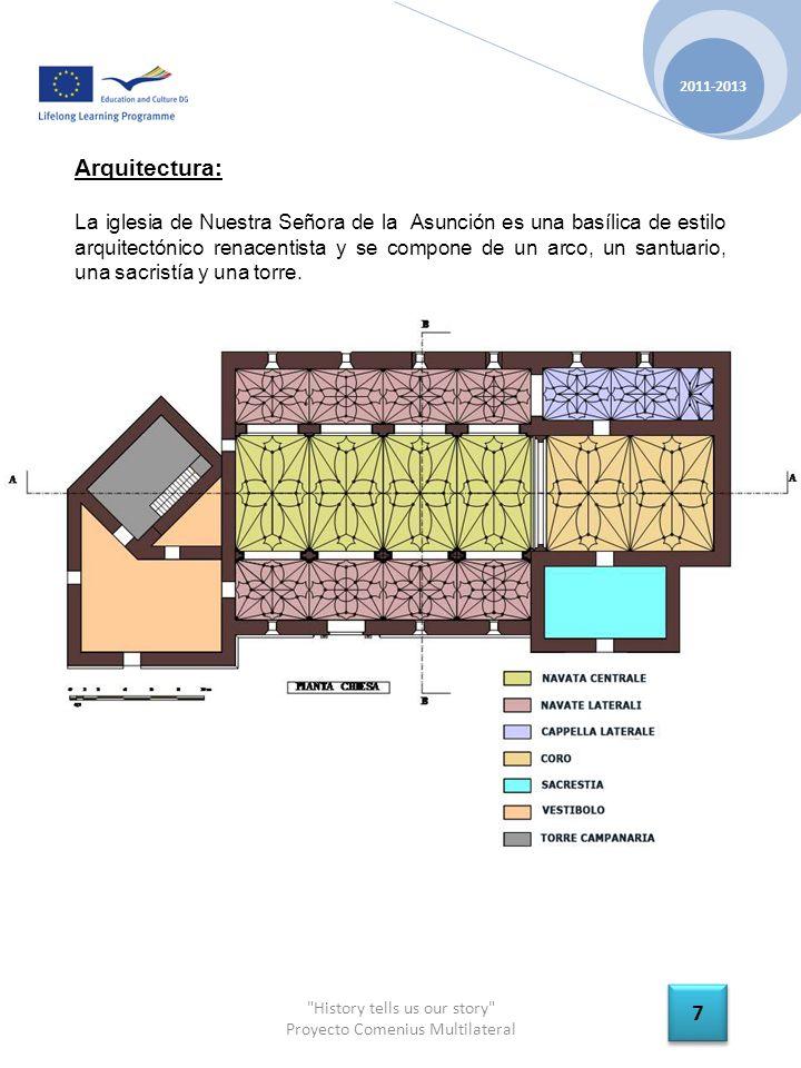 History tells us our story Proyecto Comenius Multilateral 2011-2013 7 7 Arquitectura: La iglesia de Nuestra Señora de la Asunción es una basílica de estilo arquitectónico renacentista y se compone de un arco, un santuario, una sacristía y una torre.