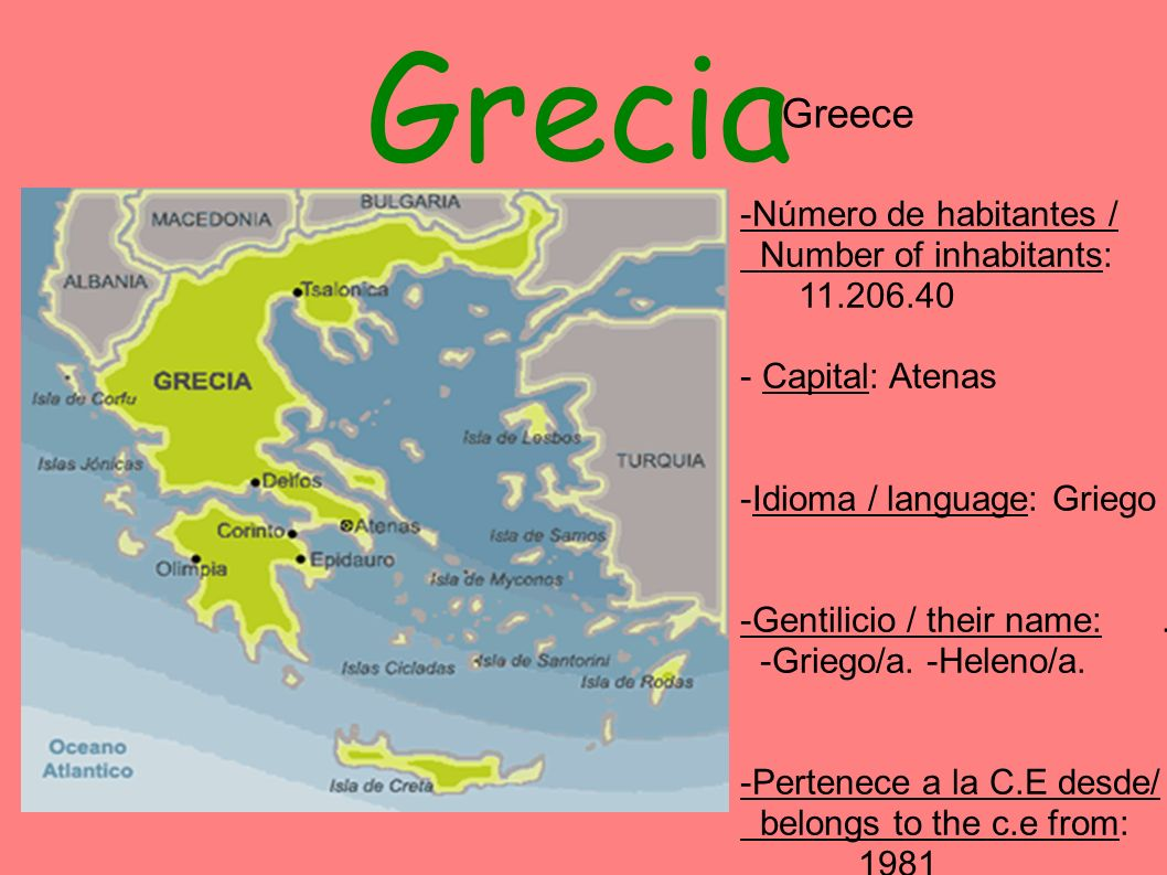 Grecia -Número de habitantes / Number of inhabitants: 11.206.40 - Capital: Atenas -Idioma / language: Griego -Gentilicio / their name:. -Griego/a. -He
