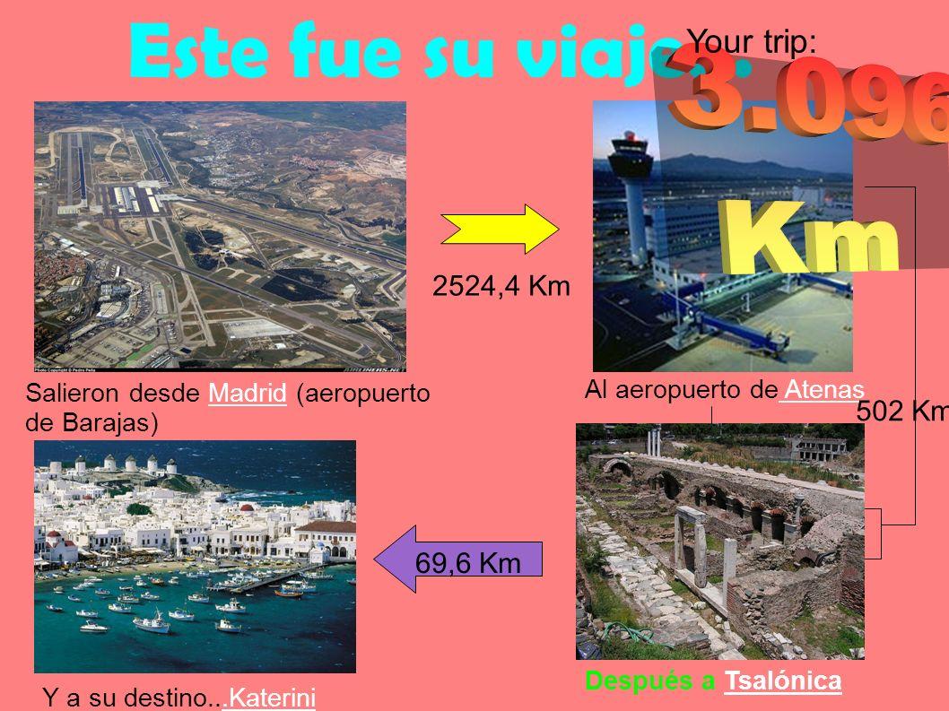 Este fue su viaje... Salieron desde Madrid (aeropuerto de Barajas) Al aeropuerto de Atenas Después a Tsalónica Y a su destino...Katerini 69,6 Km 502 K