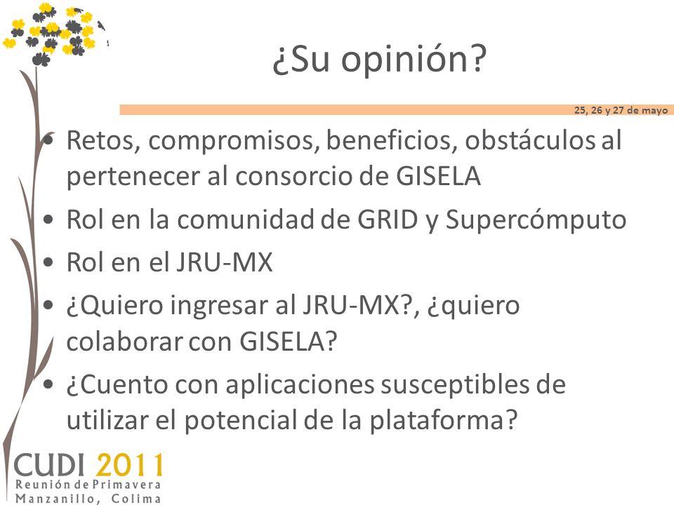 25, 26 y 27 de mayo Retos, compromisos, beneficios, obstáculos al pertenecer al consorcio de GISELA Rol en la comunidad de GRID y Supercómputo Rol en el JRU-MX ¿Quiero ingresar al JRU-MX , ¿quiero colaborar con GISELA.