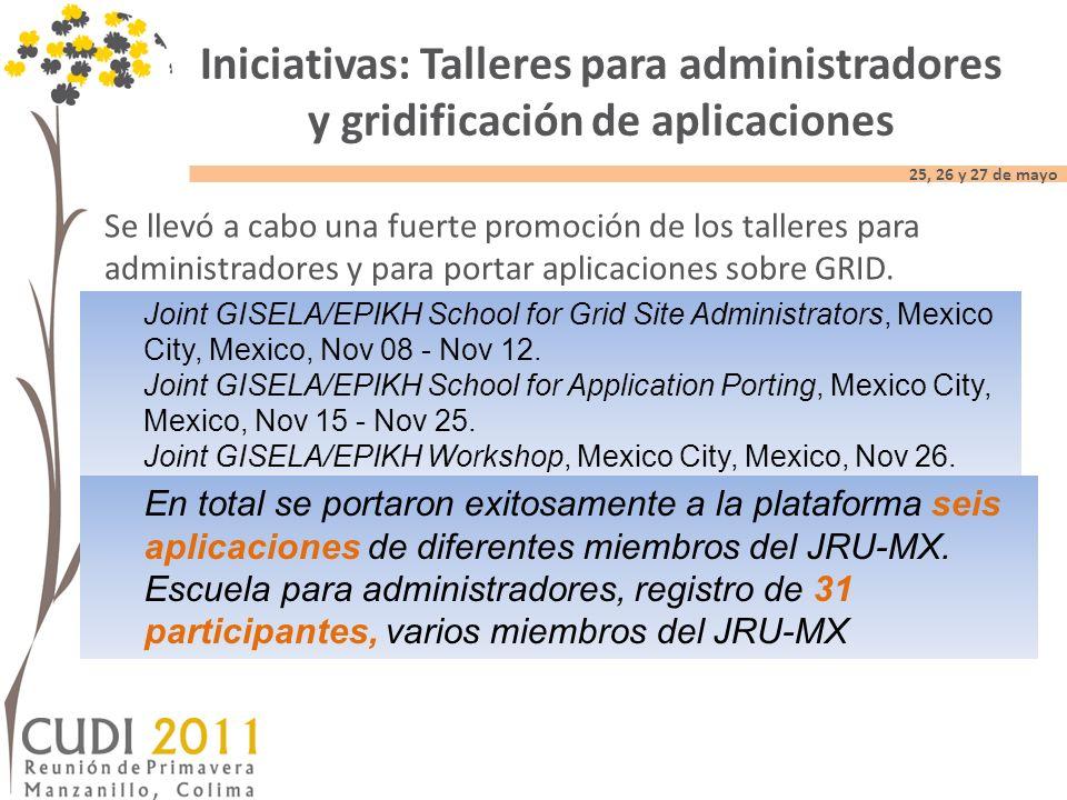 25, 26 y 27 de mayo Se llevó a cabo una fuerte promoción de los talleres para administradores y para portar aplicaciones sobre GRID.