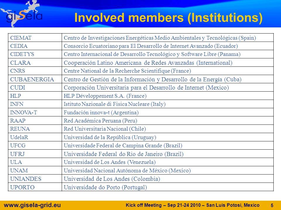 www.gisela-grid.eu Involved members (Institutions) Kick off Meeting – Sep 21-24 2010 – San Luis Potosi, Mexico 5 CIEMATCentro de Investigaciones Energéticas Medio Ambientales y Tecnológicas (Spain) CEDIAConsorcio Ecuatoriano para El Desarrollo de Internet Avanzado (Ecuador) CIDETYSCentro Internacional de Desarrollo Tecnológico y Software Libre (Panama) CLARACooperación Latino Americana de Redes Avanzadas (International) CNRSCentre National de la Recherche Scientifique (France) CUBAENERGIACentro de Gestión de la Información y Desarrollo de la Energía (Cuba) CUDICorporación Universitaria para el Desarrollo de Internet (Mexico) HLPHLP Développement S.A.
