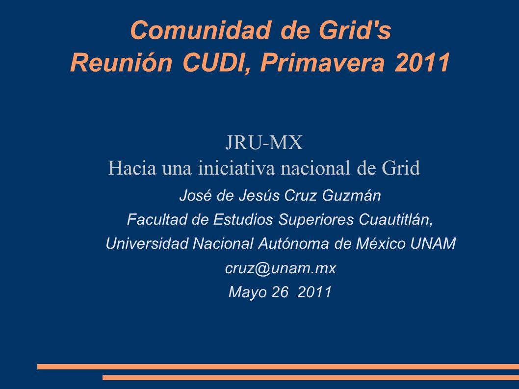 Comunidad de Grid's Reunión CUDI, Primavera 2011 JRU-MX Hacia una iniciativa nacional de Grid José de Jesús Cruz Guzmán Facultad de Estudios Superiore