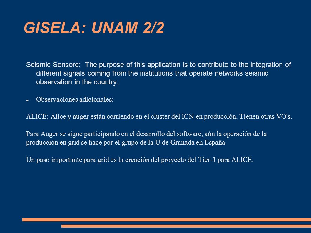 GISELA: UNAM 2/2 Seismic Sensore: The purpose of this application is to contribute to the integration of different signals coming from the institutions that operate networks seismic observation in the country.