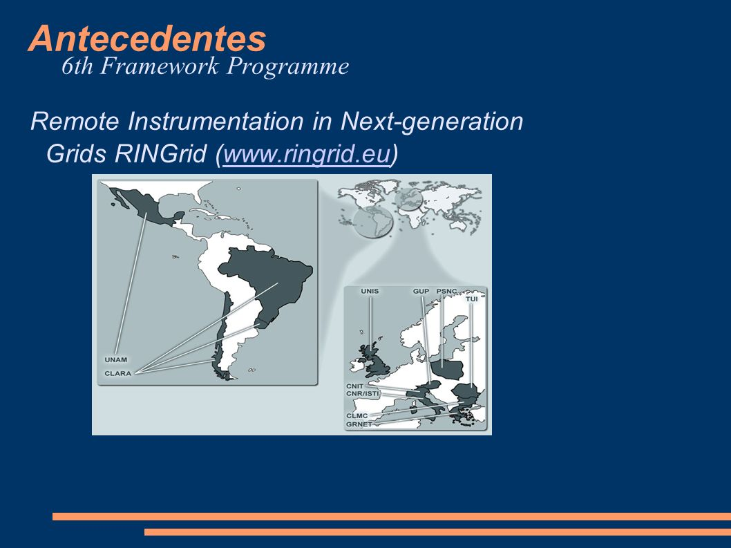 Antecedentes 7 th Framework Program E-science grid facility for Europe and Latin America EELA-2 (http://www.eu-eela.eu)http://www.eu-eela.eu
