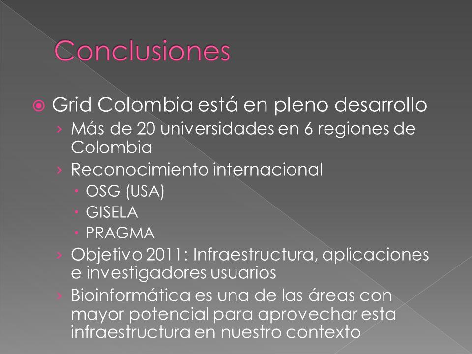 Grid Colombia está en pleno desarrollo Más de 20 universidades en 6 regiones de Colombia Reconocimiento internacional OSG (USA) GISELA PRAGMA Objetivo 2011: Infraestructura, aplicaciones e investigadores usuarios Bioinformática es una de las áreas con mayor potencial para aprovechar esta infraestructura en nuestro contexto